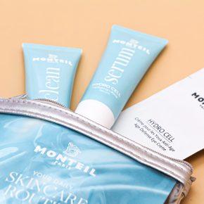 monteil hydro cell kelioninis kosmetikos rinkinys prausiklis serumas kremas sausai odai visu tipu odai